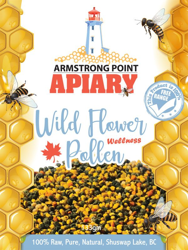 Pollen, Wildflower, Pure, Raw, Armstrong Point Apiary, Shuswap, Eagle Bay, BC